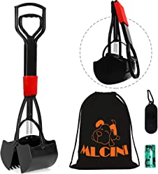 MLCINI Pooper Scooper Dog Pooper Scooper with Bag 26  Long Handle with Advanced Jaw Scoop for Pet Waste Pick Up Foldable Portable Design Non-Breakable and Durable with Bonus Storage Bag