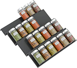 NIUBEE Acrylic Spice Rack Tray - 4 Tier Spice Drawer Organizer for Kitchen Cabinets, (Black, 1 pack)