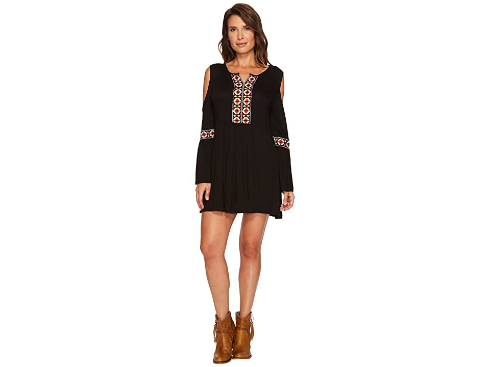 Scully Clia Cold Shoulder Embroidered Dress (Black) Women