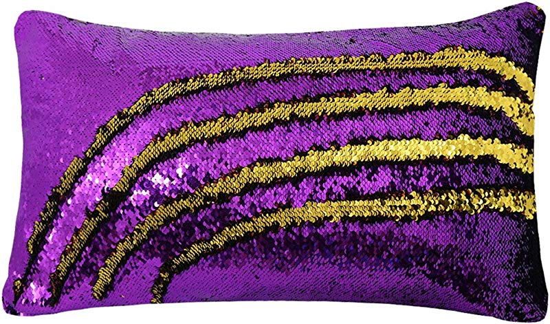 Zdada Decorative Cushion Covers Children Gift Sequin Pillow Case With Insert Purple And Gold