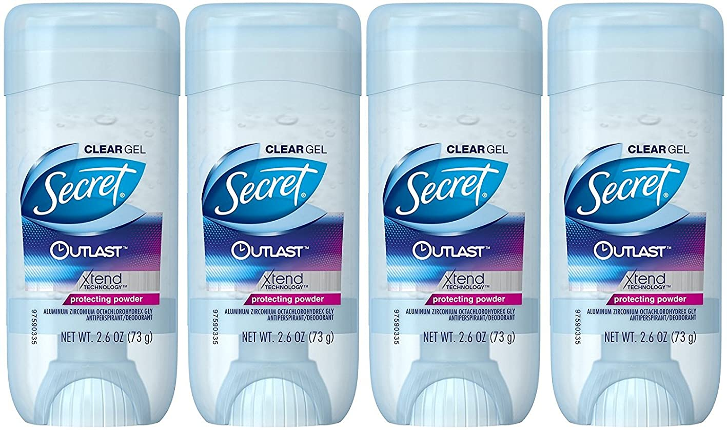 Secret Outlast Protecting Powder Scent Women's Clear Gel Antiperspirant & Deodorant, 2.6 Ounce (4 Pack) ussjnsegheb511