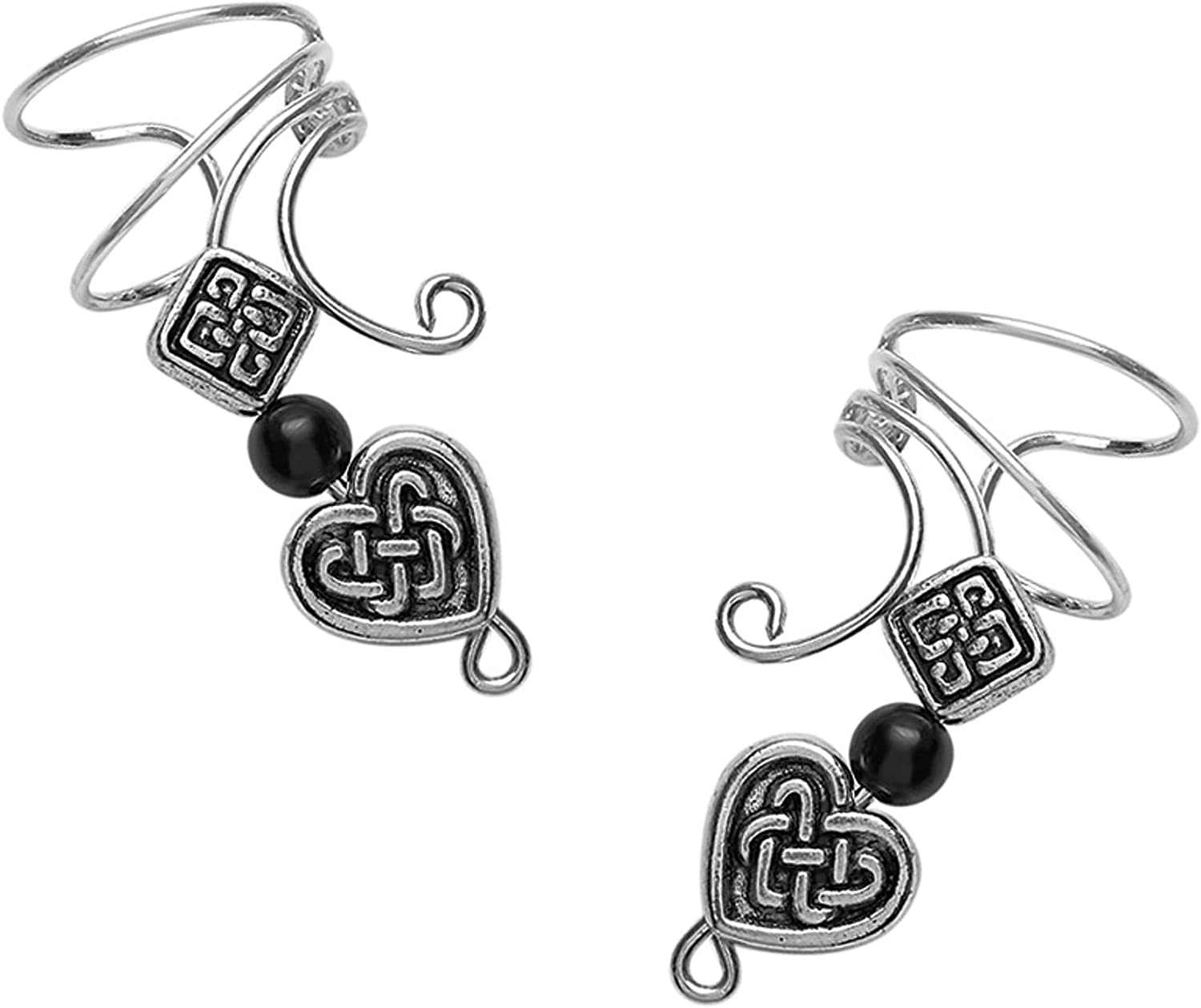 Long Wave Ear Cuff with Pewter Celtic Ranking TOP13 Square 5 ☆ popular Heart Non-p Onyx