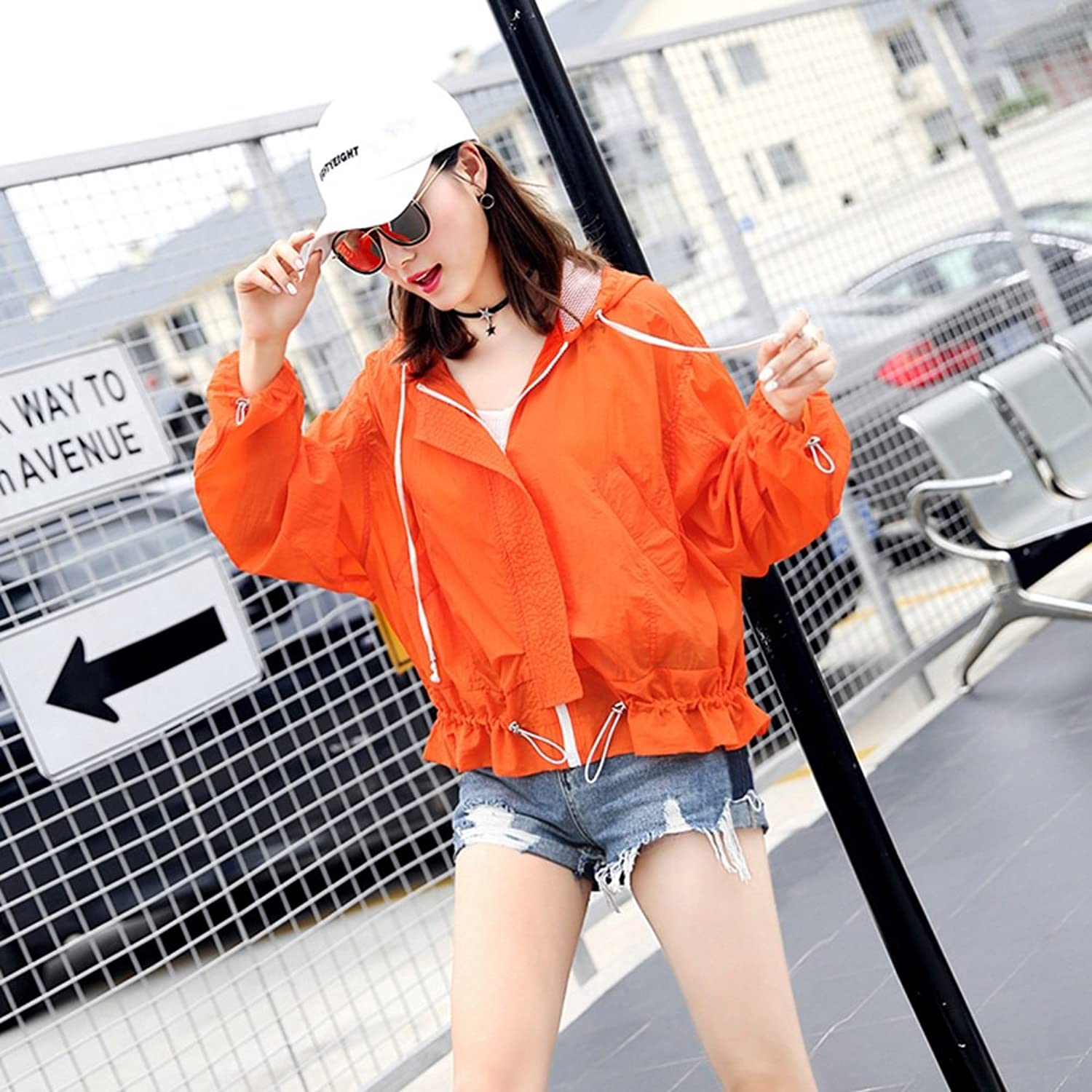 XRXY Woman Summer New Style Sun Predection Clothes Loose Casual Bat Sleeve Short Coat Creative Thin Sun Predection Clothing (2 colors Available) (color   A, Size   L)
