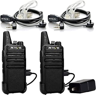 Retevis RT22 Two Way Radio UHF 16 CH VOX Walkie Talkies with Covert Air Acoustic Earpiece (2 Pack)