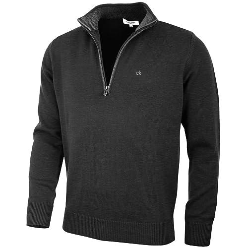a907ecdd9c09 Calvin Klein Golf Mens 2019 Cotton Sweater CK Half Zip Pullover