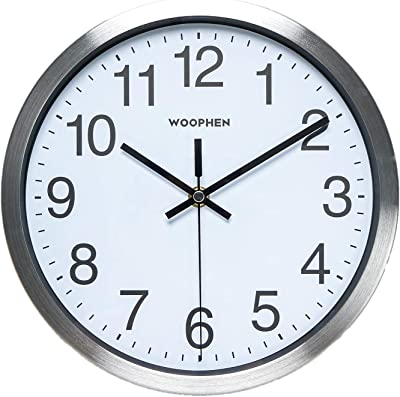 WOOPHEN 10 Inch Silent Non-Ticking Black Wall Clock Quartz Battery Operated Round Easy to Read Home/Office/Kitchen/School Clock