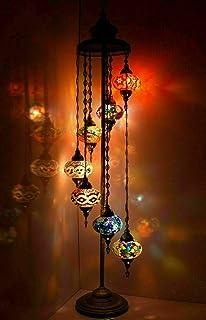 Lampadaire turque marocaine en mosaïque de verre faite à la main Multicolore Tiffany Lampadaire à 7 grands globes avec amp...