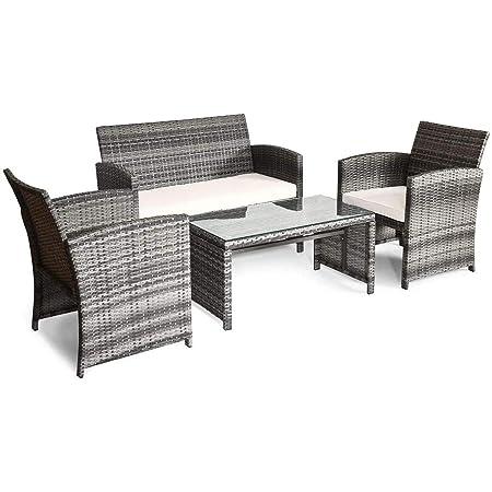 Gray Outdoor Garden Rattan Patio Furniture Set Cushioned Seat Wicker Sofa