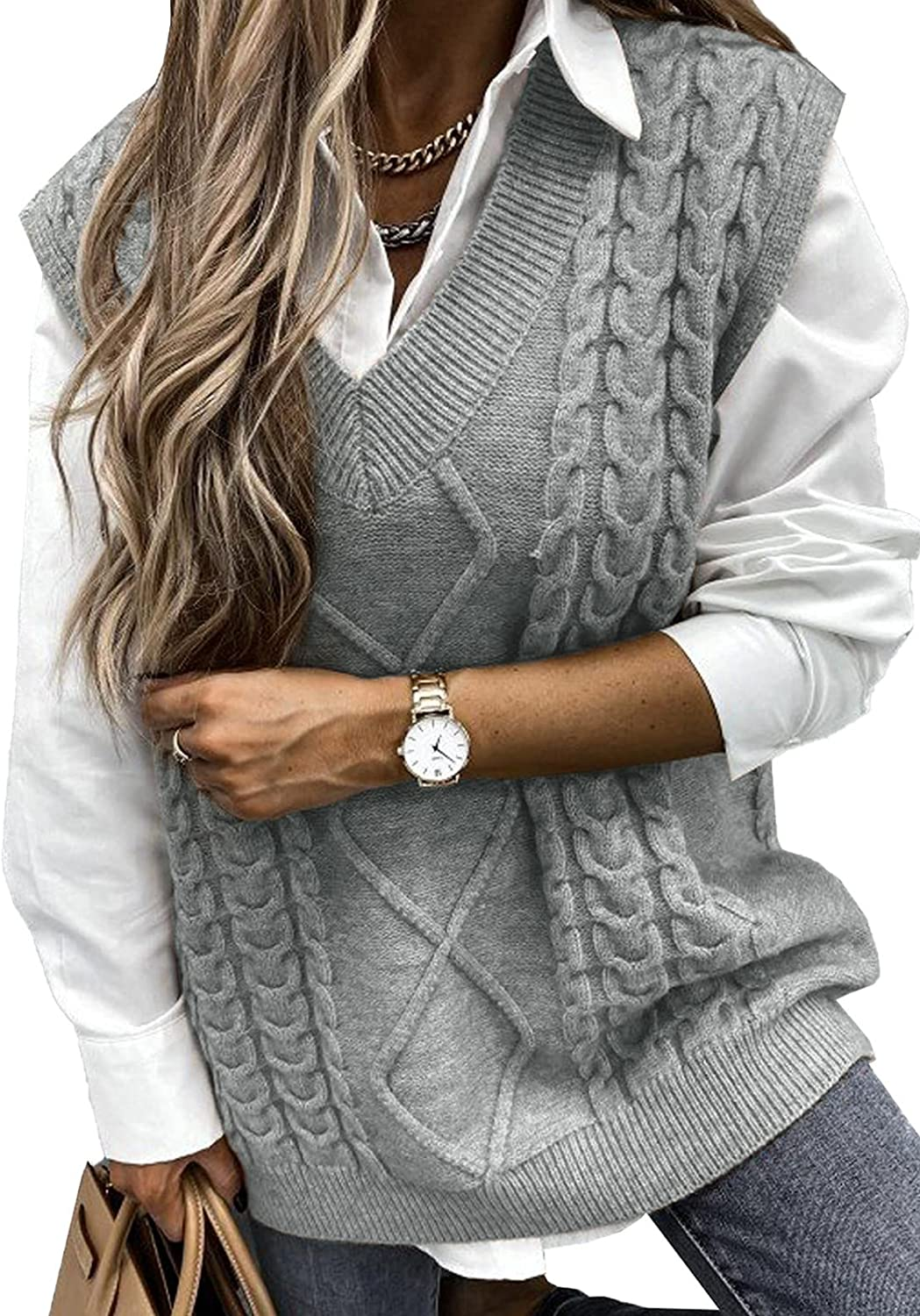 Uusollecy Women V Neck Sweater Vest, Solid Sleeveless Pullover Sweaters, Casual Cable Knit Sweaters for Autumn Winter