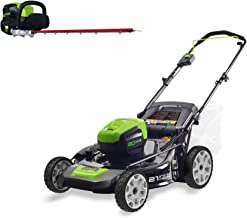 Greenworks PRO 21-Inch 80V Cordless Lawn Mower with PRO 26-Inch 80V Cordless Hedge Trimmer Battery Not Included GHT80320