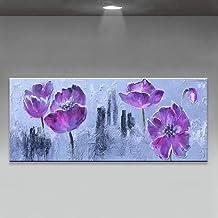Handgeschilderd Olieverfschilderij - Moderne Mode Handgeschilderde Abstracte Paarse Bloemen Landschap Olieverfschilderij O...