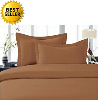 Elegant Comfort 3-Piece 1500 Thread Count Egyptian Quality Hypoallergenic Ultra Soft Wrinkle, Fade, Stain Resistant Bed Sheet Sets with Deep Pockets, Twin, Mocha Chocolate