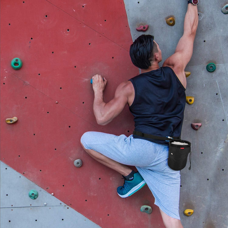 Gymnastik Rhino Valley Magnesiumbeutel Dicht Chalkbag Kordelzug Magnesiabeutel mit Einstellbar Band Gewichtheben Karabinerclip und Rei/ßverschlusstasche f/ür Klettern Cross Fit