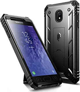 Galaxy J3 2018 Kickstand Rugged Case, Poetic Revolution Full Body Case with Built-in-Screen Protector for Samsung Galaxy J3 Orbit/J3 Star/J3 V 3rd Gen/J3 Achieve/Express Prime 3/Amp Prime 3 Black