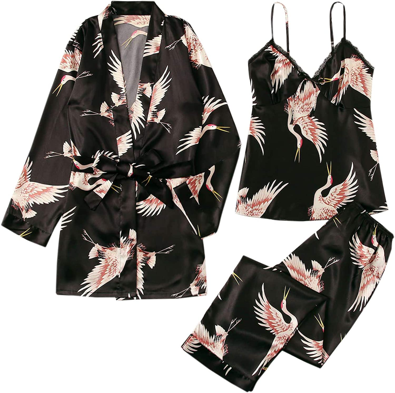 WDIRARA Women's 3 pcs Sleepwear Leaf Print Cami and Pants Pajama Set with Robe