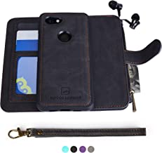 MODOS LOGICOS Google Pixel 3a XL Case, [Detachable Wallet Folio][2 in 1][Zipper Cash Storage][Up to 14 Card Slots 1 Photo Window] PU Leather Purse with Removable Inner Magnetic TPU Case - Black