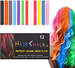 Hair Chalk, SUNEO 12 Color Hair Chalk Pens Soft Pastels Salon Kit Fast Temporary Hair Dye Chalk Non-toxic Washable