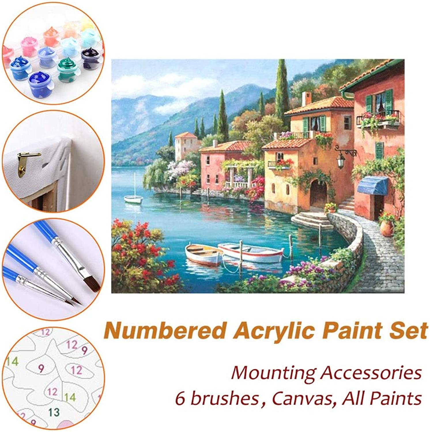 Puzzle House Paint Max Acrylic Oil Painting Paint By Numbers Kits Sets with Frame For Kids Adults Beginner Artist, Harbor Village DIY Wall Art Picture Photography Brush Supplies 611