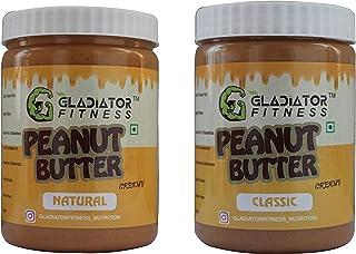 Gladiator Fitness™ Natural & Classic Creamy Combo Peanut Butter (500gm+500gm)   30g High Protein   Zero Cholesterol   Vega...