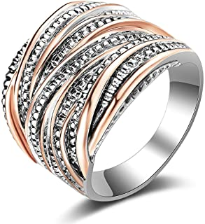 SSSCase Polished Silver Ring Fashion Tarnish Resistant Comfort Finger Ring Wedding Rings Love Style Ring for Women Girls Rose gold,Size 8