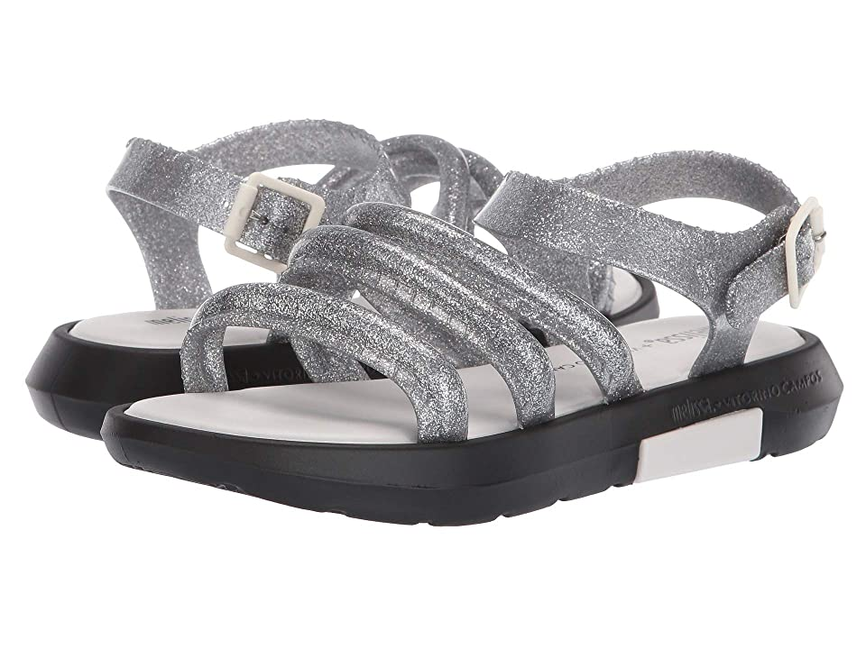 Melissa Shoes Flox + Vitorino Campos II (Silver Glitter/Black) Women
