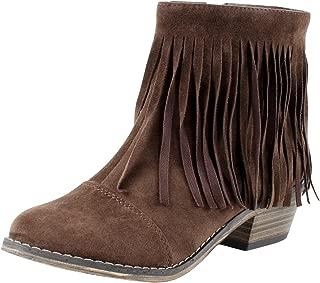 Breckelle's Women Suede Fringe Cap Toe Ankle Bootie DC62