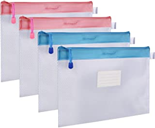ジッパー式ファイル袋 Wisdompro A4判 撥水 網目 收納袋 ファイルバッグ クリアホルダー オフィス用品 旅行収納 PVC製 厚型 4枚入り (ピンク+ブルー)