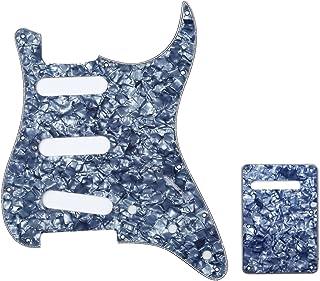 Musiclily SSS Set de Pickguard Golpeador y Placa Trasera Strat para Fender American/México Standard Stratocaster Estilo Moderno, 4 capas Grey Pearl