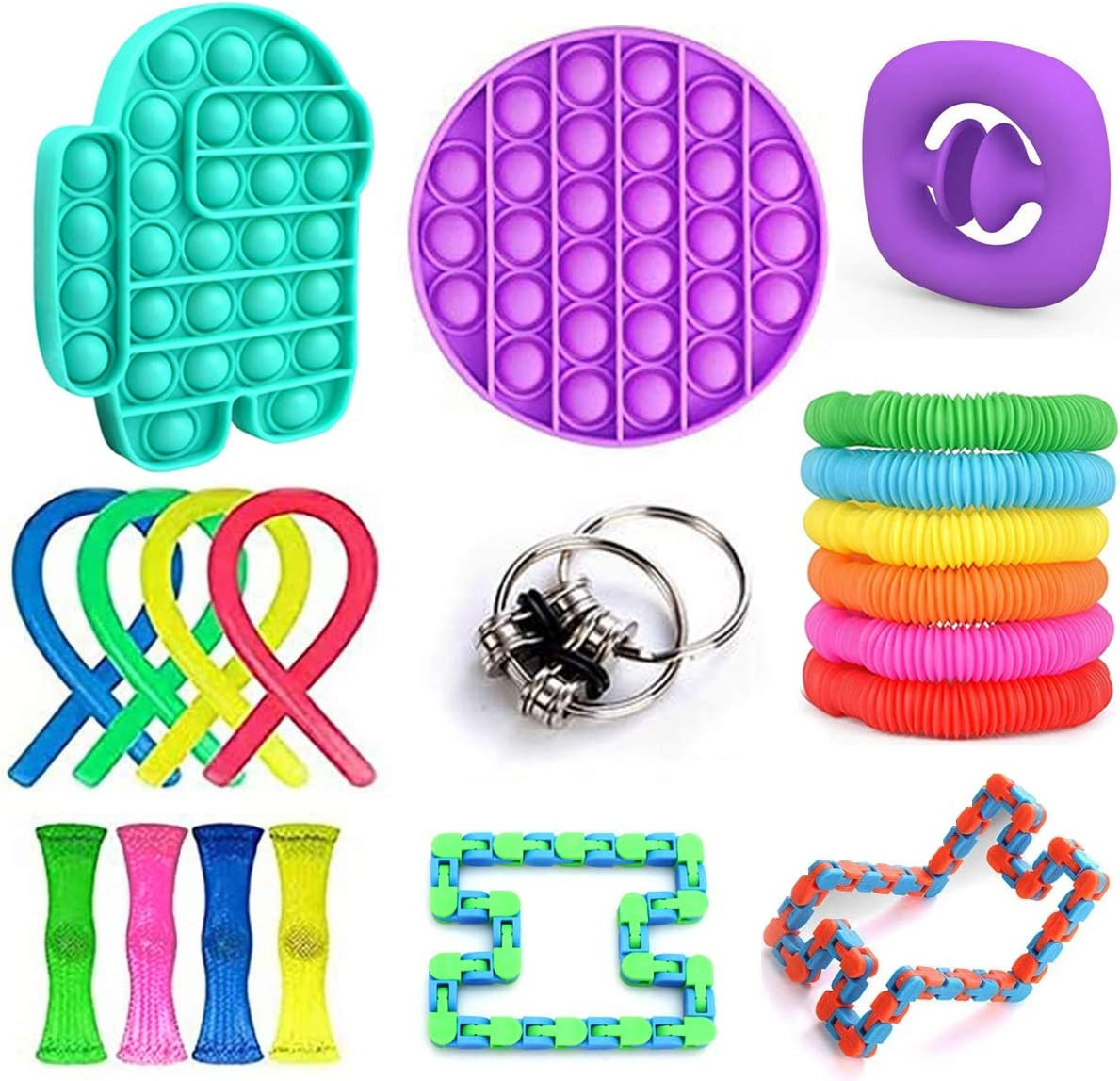 20 Pack Fidget Toy Set Sensory Toys Stress /& Anti-Anxiety Relieving Fidget Toy Chain 20 Pcs Magic Cube Infinity Cube Toy /& More with Simple Dimple /& Pop-Its Toy for Kids /& Adults