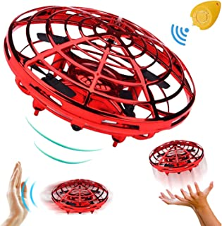 Hand Operated Mini Drone for Boys Girls Holiday Christmas Toy Gift, Two Speed Auto-Avoid Obstacles 360°Rotating Flying Ball Toys Outdoor Indoor Games for Kids (Red)