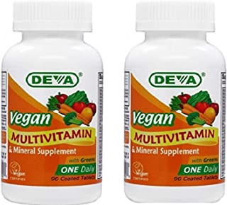 Deva Vegan Multivitamin & Mineral Supplement - (2-Pack) Vegan Formula with Green Whole Foods, Veggies, and Herbs - High Po...