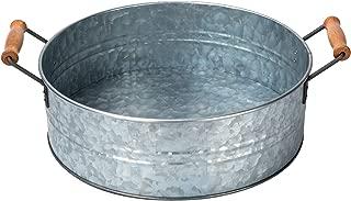 "OUTSHINE Rustic Farmhouse Galvanized Metal Tray Tub and Wood Handles- Kitchen Bathroom Living Room Décor, Centerpiece, Storage – 12.2"" Diameter"