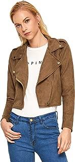 Women's Faux Suede Stand Collar Hidden Zip Bomber Short Jacket