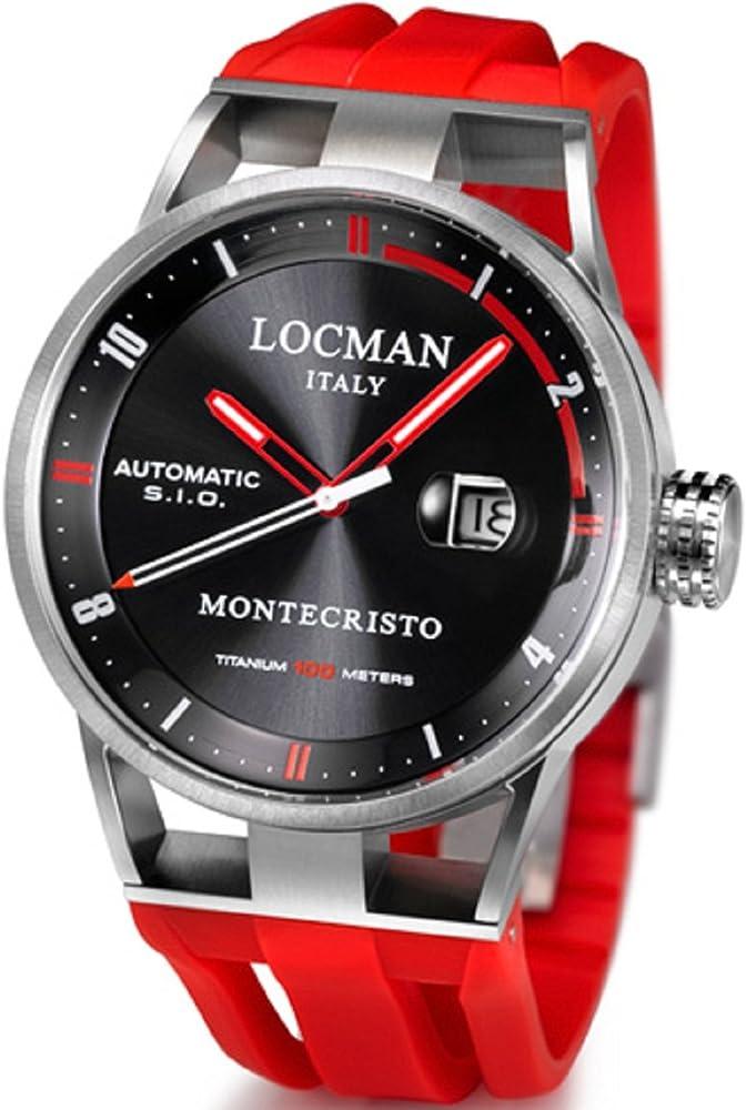 Locman ,orologio da uomo automatico,cinturino in  caucciú,e cassa in acciaio inossidabile 051100BKFRD0GOR