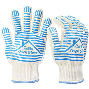 Gülife Oven Glove Withstands Heat Up to 932F - EN407 Standard Level3,BBQ Glove (Gift Packaging, 1 Pair Blue)