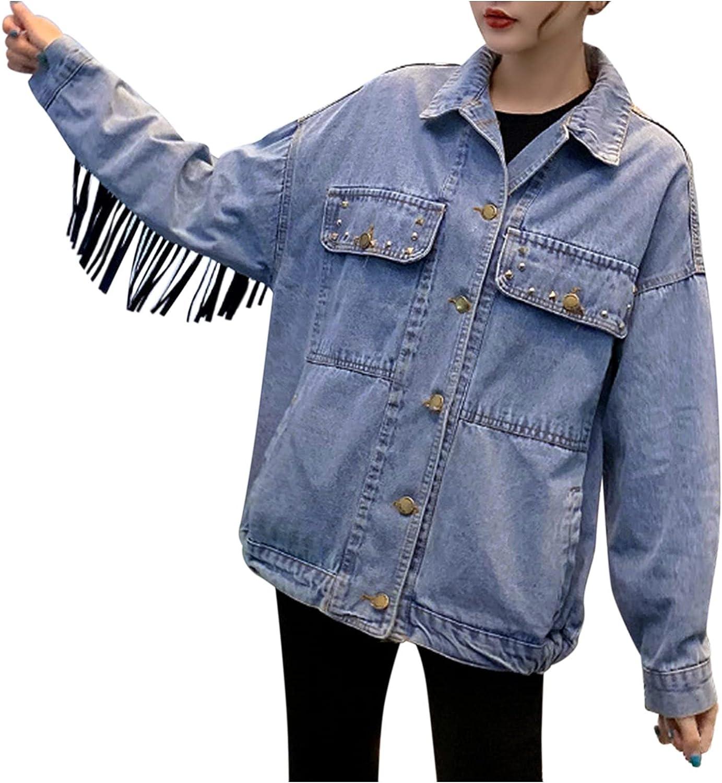 BEUU Oversize Denim Jacket for Women Ripped Jean Jacket Boyfriend Long Sleeve Coat Loose Jean Trucker Jacket with Fringe