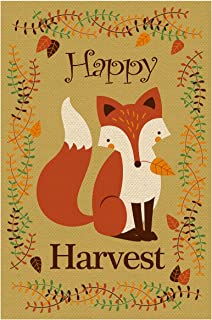 Texupday Happy Harvest Cute Fox Double Sided Burlap Garden Flag Plant Branches and Leaves Decoration Autumn Outdoor Flag 12
