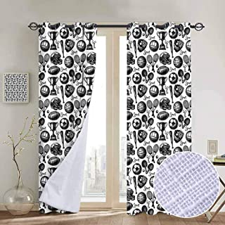 Sport Blackout curtains - gasket insulation Monochrome Trophy Baseball Glove Ping Pong Ball Sketch Style Bat Tournament Inspired Blackout curtains for the living room W96 x L84 Inch Black White