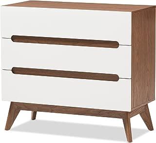 Baxton Studio Chests of Drawers/Bureaus, 3-Drawer Storage Chest, White/Walnut Brown
