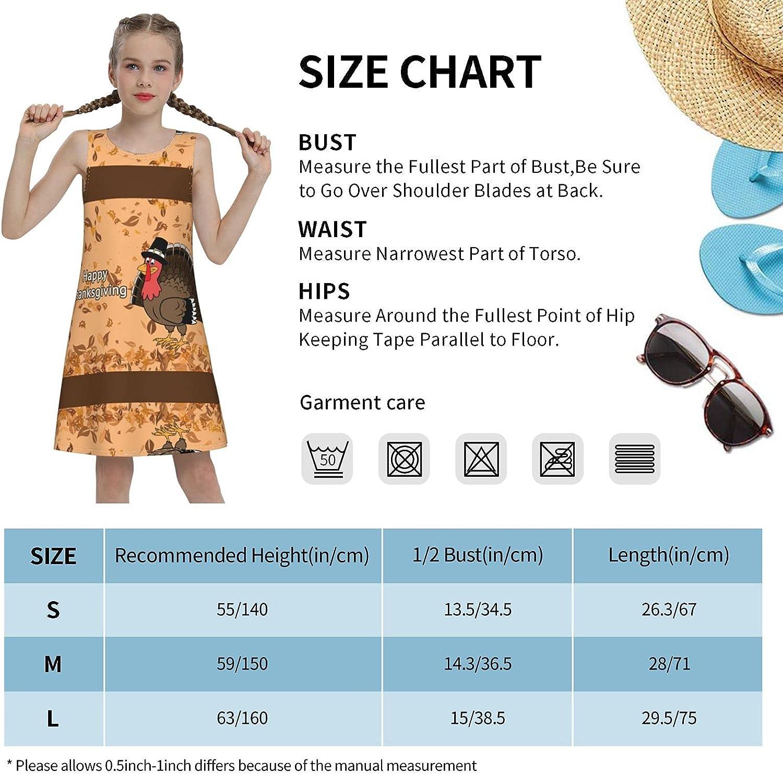 YhrYUGFgf Happy Thaks Giving Sleeveless Dress for Girls Casual Printed Lightweight Skirt