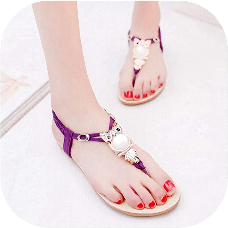 Women Sandals Flip Flops Casual Flat Sandals Women shoes Owl Spring Summer Beach Sandals