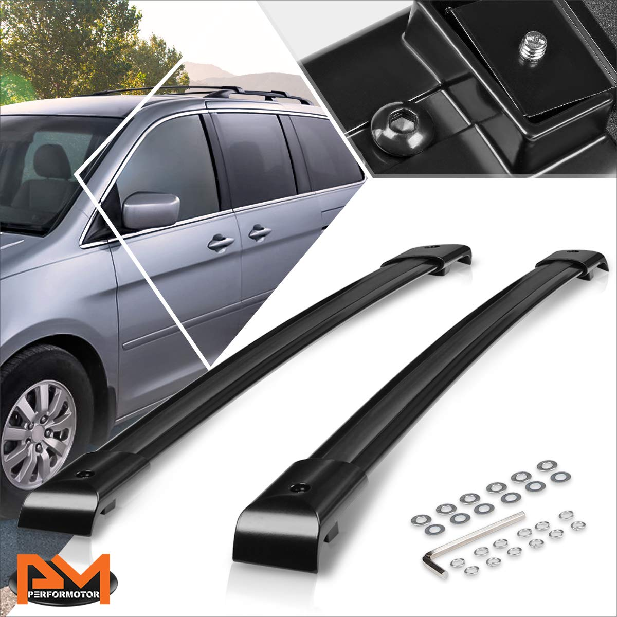 compatible with honda odyssey 05 10 oe style aluminum roof top rail rack crossbar luggage carrier