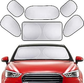 PEYOU Car Windshield Sun Shade, [6 Pack] Full Car Sun Shade Car Rear Side Window Shade Protect Your Car from Heat and Damage-Reflective Coating-Foldable Sunshade-Keep Your Vehicle Cooler(59x31.5 inch)