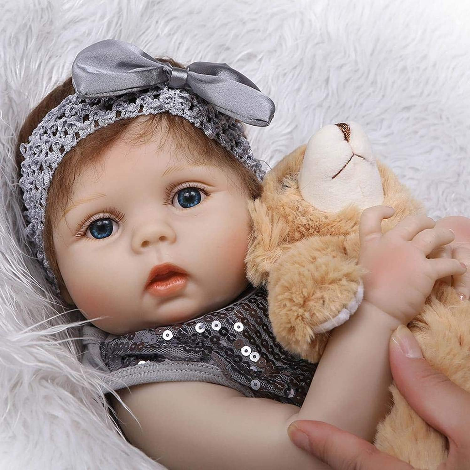 Heresell Lifelike Doll 22  Realistic Reborn Baby Dolls Look Real Girl Soft Silicone Vinyl Reborn Toddler Baby Doll Realistic Real Lifelike Looking Newborn Dolls Baby