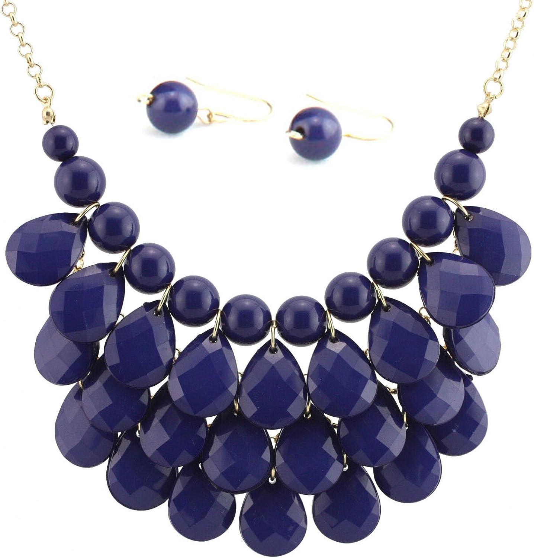 Bib Bubble Statement Necklace & Earrings Jewelry Set Inspired. - Fashion Jewelry - Navy Blue