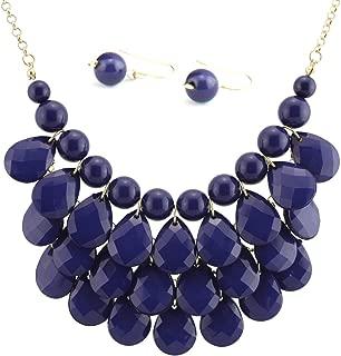navy blue bib necklace
