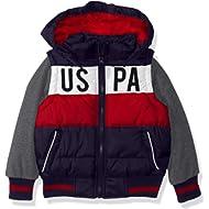 U.S. Polo Assn. Boys' Bubble Vest Jacket with Fleece Sleeves