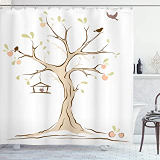Ambesonne Tree of Life Shower Curtain, Mature Apple Tree with Fying Birds and The Nest Fruit Family Nature Food Image, Cloth Fabric Bathroom Decor Set with Hooks, 70