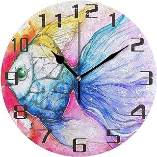 Vattenfärg regnbåge fisk väggklocka tyst icke-tickande 25 cm rund klocka akryl konstmålning hem kontor skoldekor