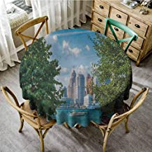 Dinning Tabletop Decoration Detroit Detroit Sightseeing on a Summer Afternoon Modern Architecture River and Boat Green Blue Aqua Patio Round Tablecloth Diameter 54
